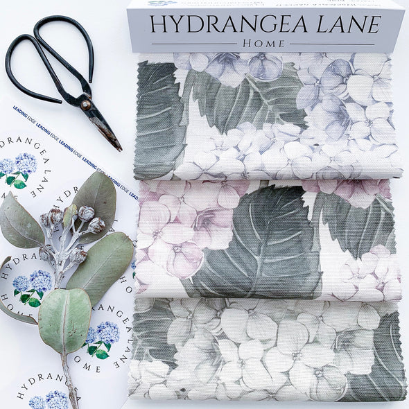 Hydrangea fabric colour ways