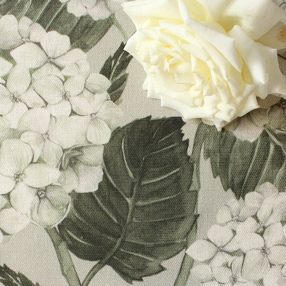 White Hydrangea Garden printed cotton linen fabric