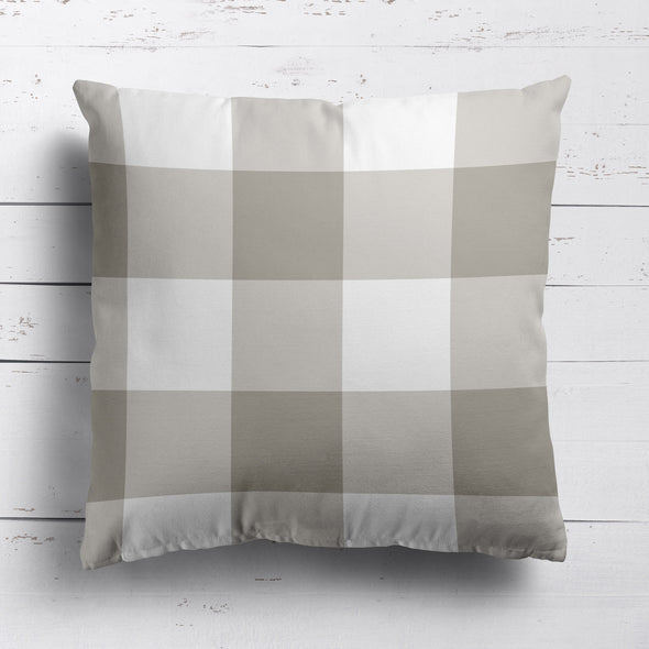 gingham check cotton linen cushion chateaux beige