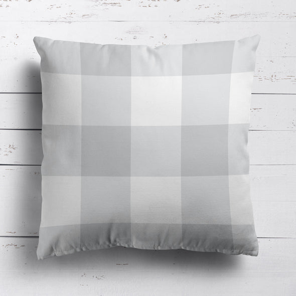gingham check cotton linen cushion dove grey