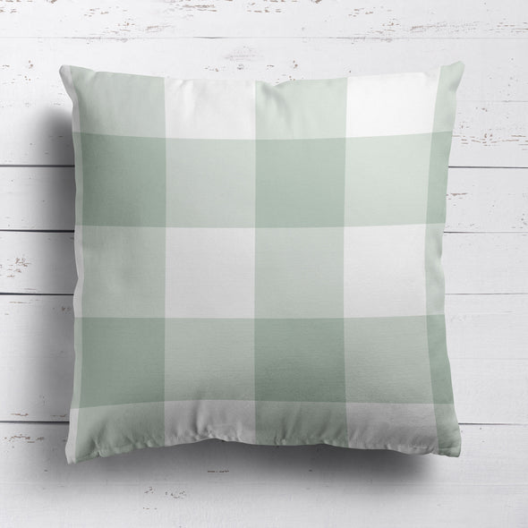 gingham check cotton linen cushion eau de nil green