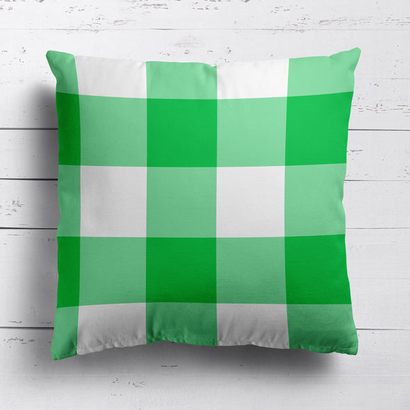 gingham check cotton linen cushion emerald green