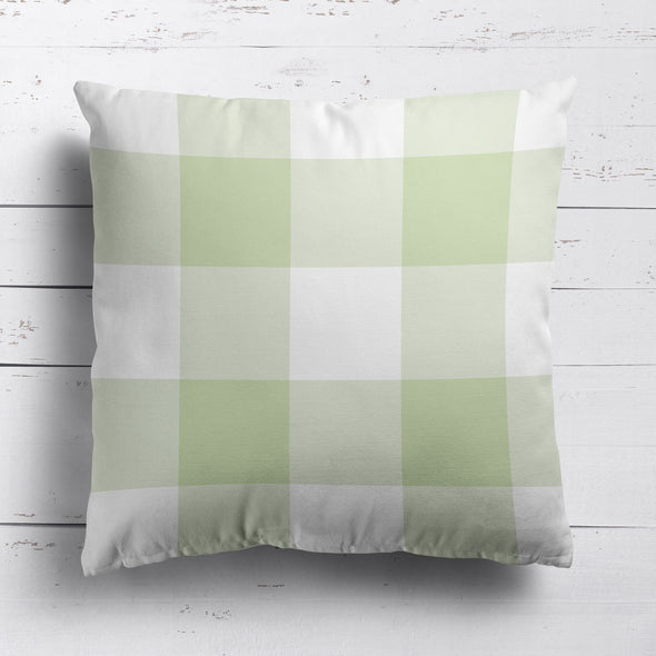 gingham check cotton linen cushion elderflower green