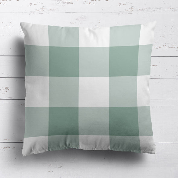 gingham check cotton linen cushion eucalyptus green