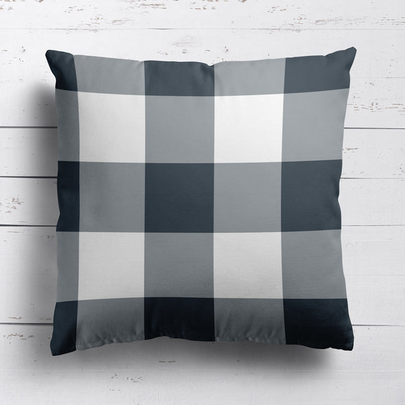 gingham check cotton linen cushion graphite grey