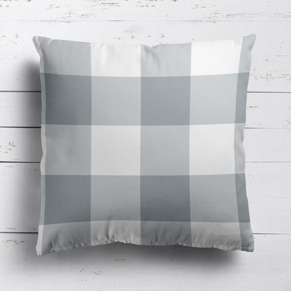 gingham check cotton linen cushion koala grey