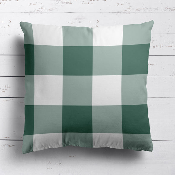 gingham check cotton linen cushion leaf green