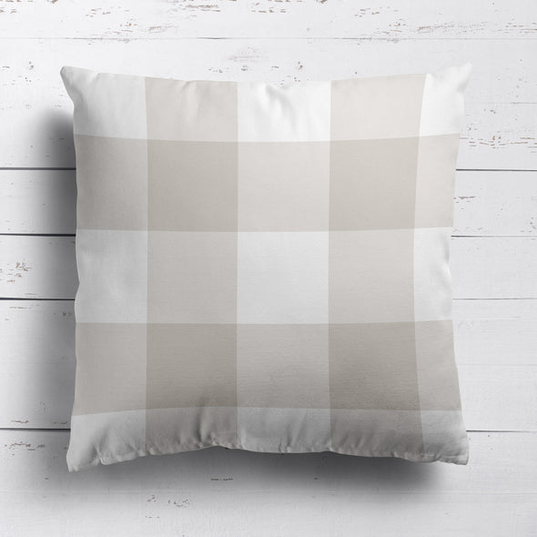 gingham check cotton linen cushion neutral beige