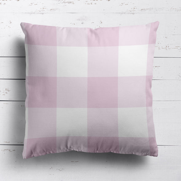 gingham check cotton linen cushion peony pink
