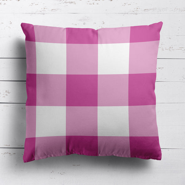 gingham check cotton linen cushion raspberry pink