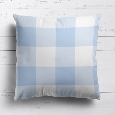 Gingham Check Jumbo Custom Cushion - Blues