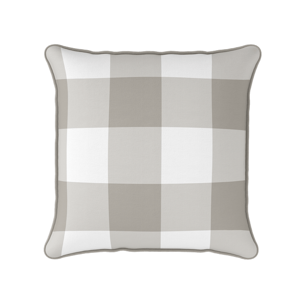 taupe jumbo gingham check cushion