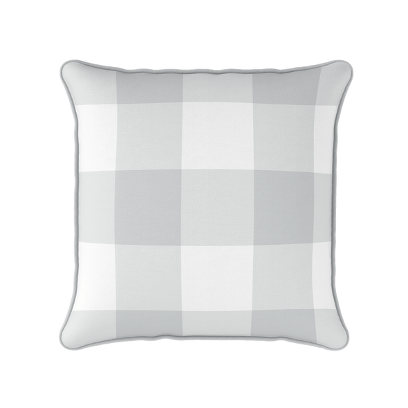 dove grey jumbo gingham check cushion
