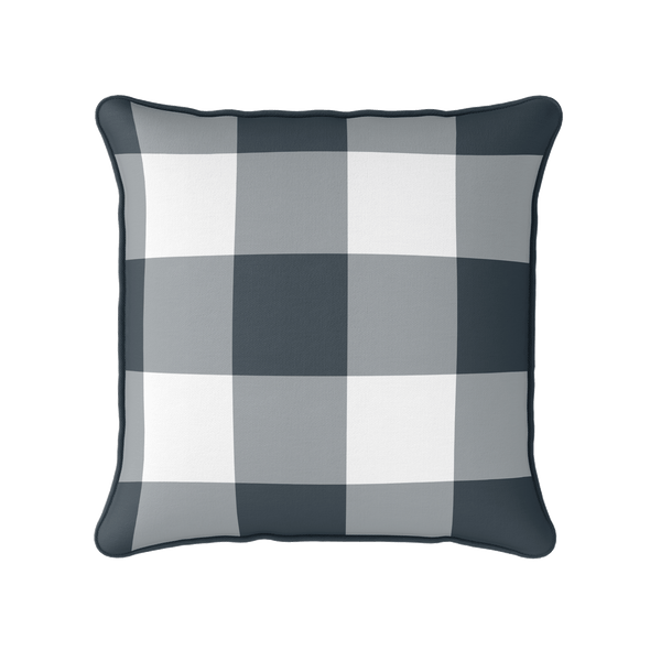 graphite grey jumbo gingham check cushion