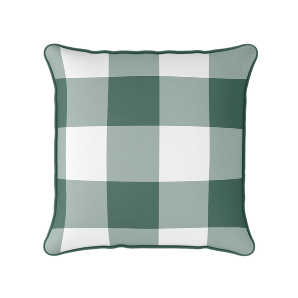 dark green jumbo gingham check cushion