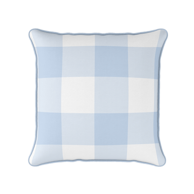 Blue jumbo gingham check cushion