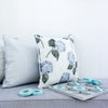 hydrangea floral cushion blue
