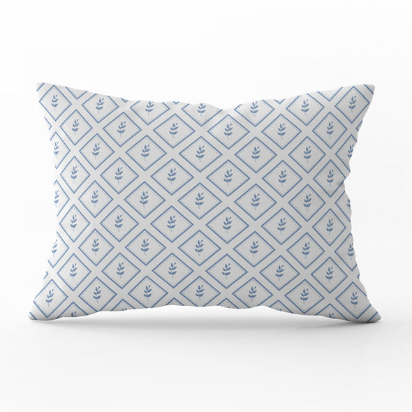 little leaf breeze blue rectangle cushion