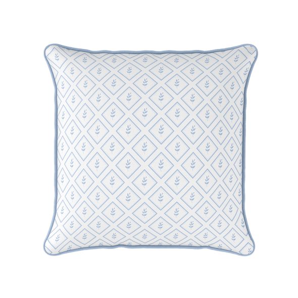 Little leaf blue botanical piped cushion