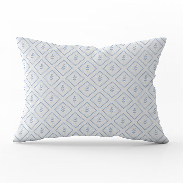 little leaf cornflower blue rectangle cushion