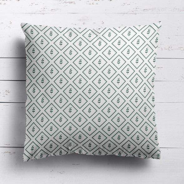 Little Leaf Trellis cotton linen cushion green