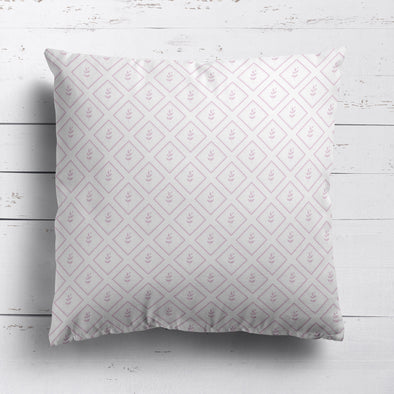 Little Leaf Trellis cotton linen cushion pink