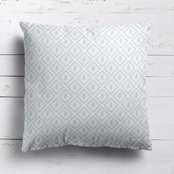 Little Leaf Trellis cotton linen cushion blue