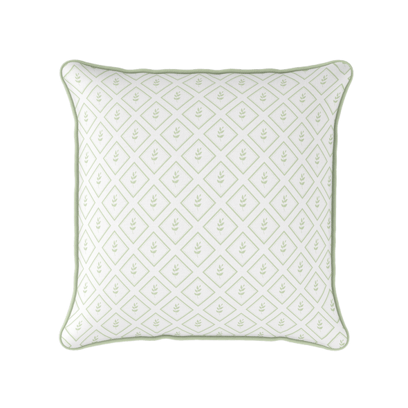 Little leaf green botanical piped cushion