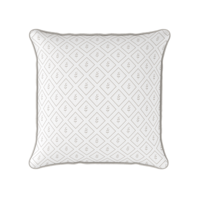 Little leaf neutral botanical piped cushion