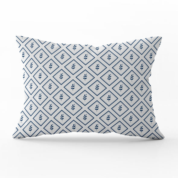 little leaf navy blue rectangle cushion