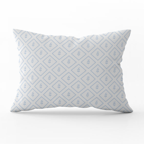 little leaf serenity blue rectangle cushion