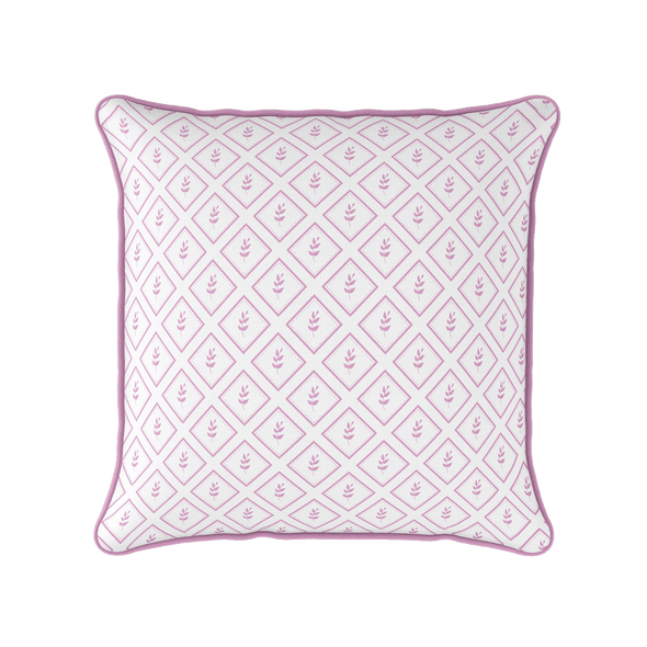 Little leaf pink botanical piped cushion