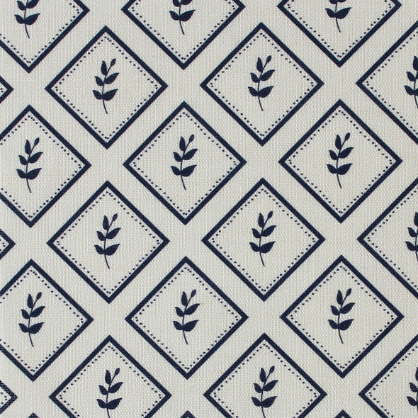 Navy blue little leaf pattern cotton linen fabric