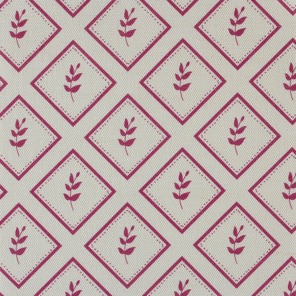 Raspberry pink little leaf pattern cotton linen fabric