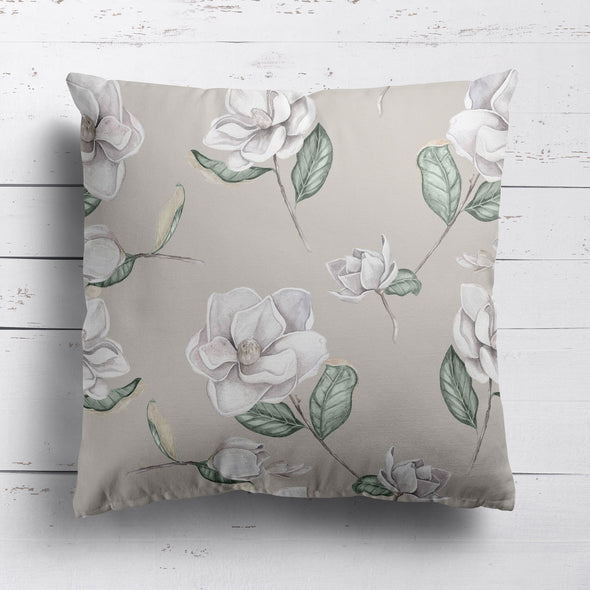 Magnolia flower printed cotton linen cushion