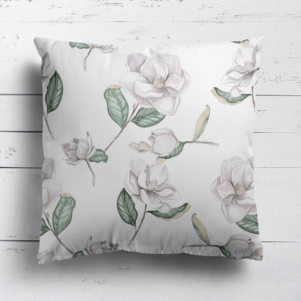Magnolia botanical print cushion