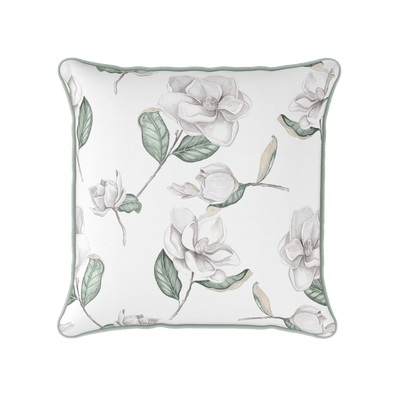 Magnolia white piped cushion