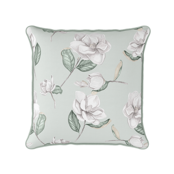 Magnolia flower piped cushion
