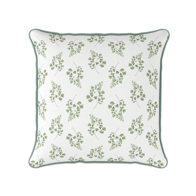 Maiden Hair Fern green piped cushion