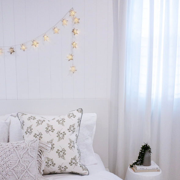 Maiden Hair Fern Cushion on white bed