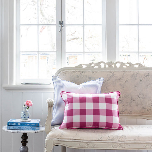 Raspberry gingham check cushion rectangle