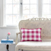 raspberry pink gingham check cushion French sofa