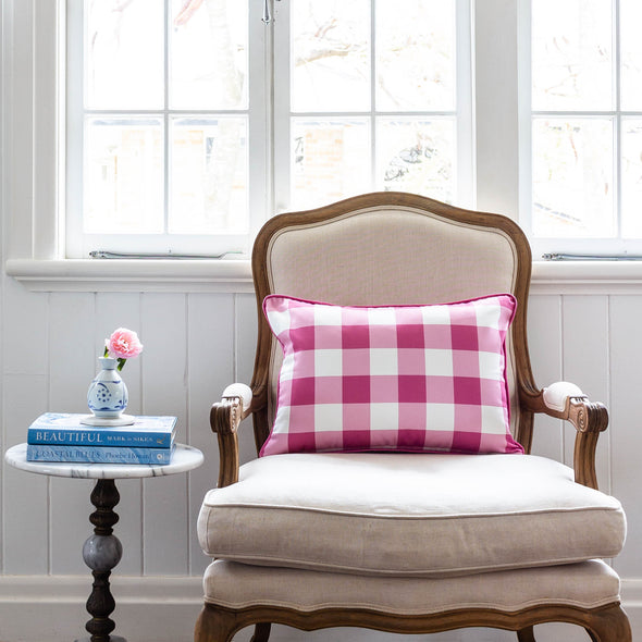 gingham check cushion raspberry pink