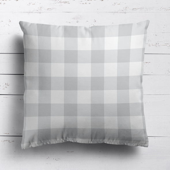 gingham check cotton linen fabric dove grey