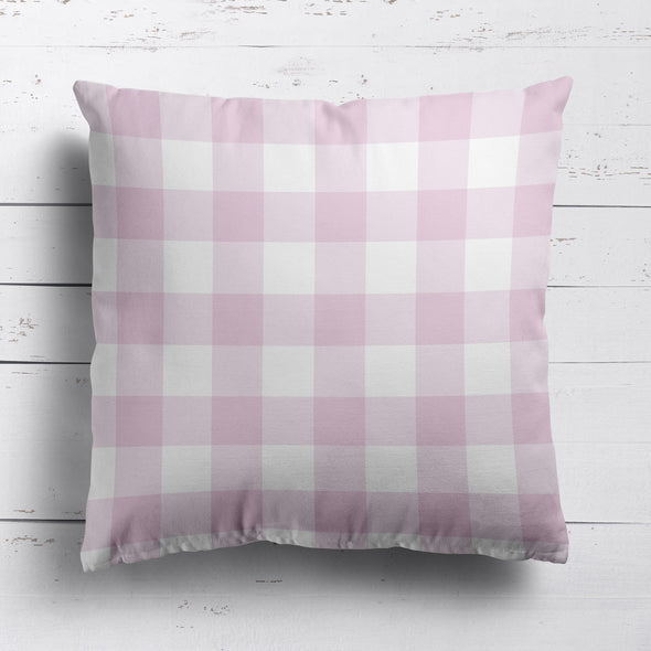 gingham check cotton linen fabric Peony pink