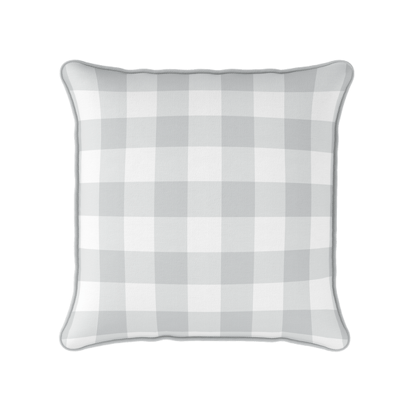 dove grey gingham check piped cushion