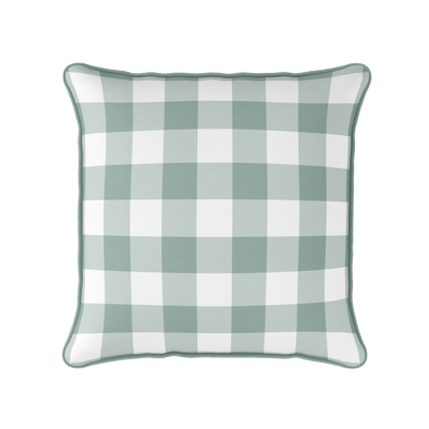 country gingham check green piped cushion