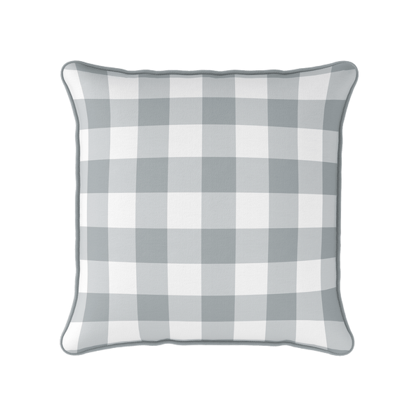 neutral gingham check piped cushion