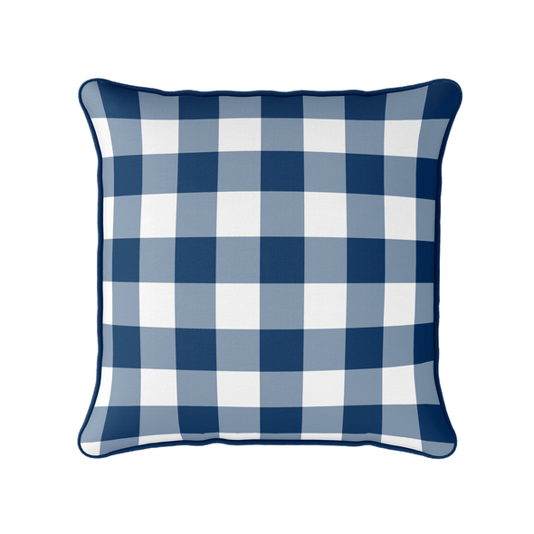 blue gingham check piped cushion
