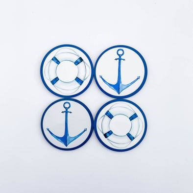 Set of nautical drink coasters